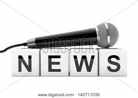 Microphone over News Box Sign on a white background. 3d Rendering