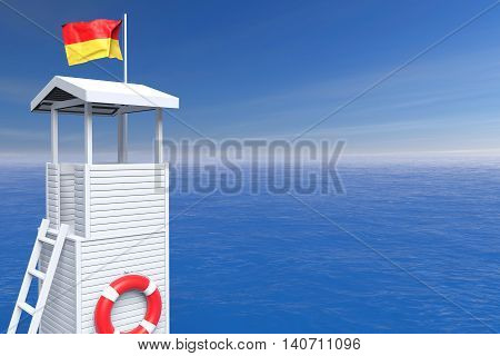 Wooden Lifeguard Tower in front of ocean background. 3d Rendering