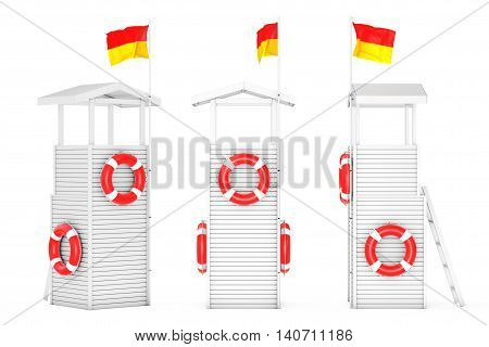 Wooden Lifeguard Towers on a white background. 3d Rendering
