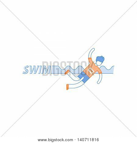 Swimming pool, triathlone sportsman, swimmer training concept