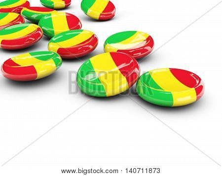 Flag Of Mali, Round Buttons
