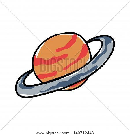 Science and space concept represented by jupiter planet icon. Isolated and sketch illustration