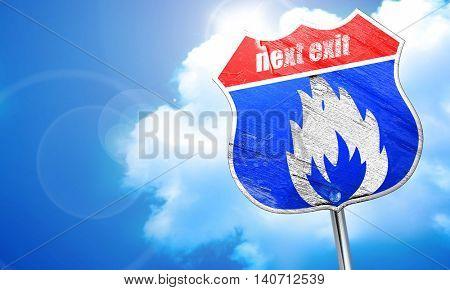 Flammable hazard sign, 3D rendering, blue street sign