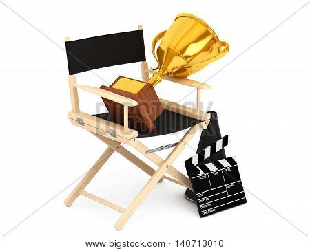 Director Chair Movie Clapper and Megaphone with Golden Trophy on a white background. 3d Rendering