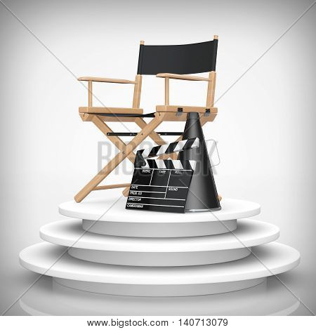 Director Chair Movie Clapper and Megaphone over Round Stage on a white background. 3d Rendering