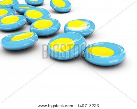 Flag Of Palau, Round Buttons