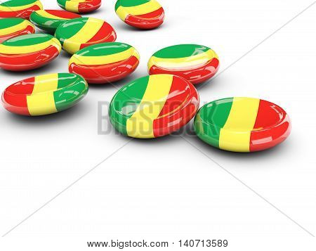 Flag Of Republic Of The Congo, Round Buttons