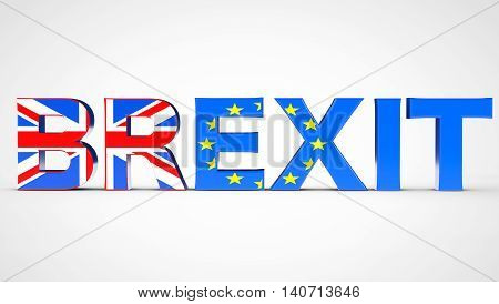 Brexit Referendum Concept Sign as UK and EU Flags on a white background. 3d Rendering