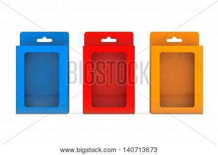 Product Package Blister Boxes With Hang Slot on a white background. 3d Rendering