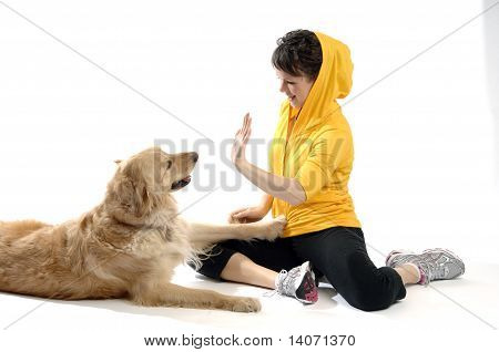 Sporty Looking Woman With Her Dog