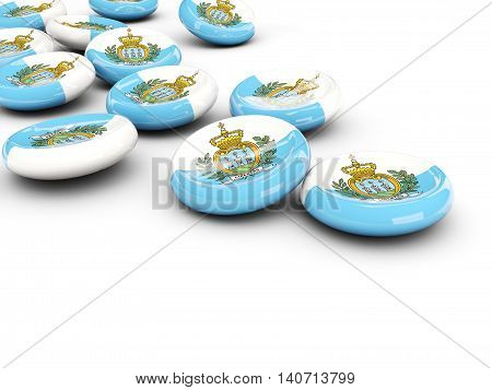 Flag Of San Marino, Round Buttons