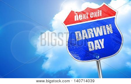 darwin day, 3D rendering, blue street sign