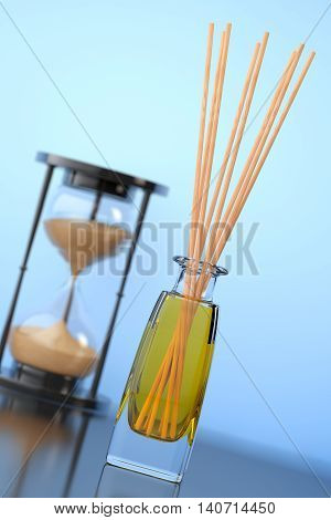 Aromatherapy Air Freshener with Sand Hourglass on a blue background. 3d Rendering
