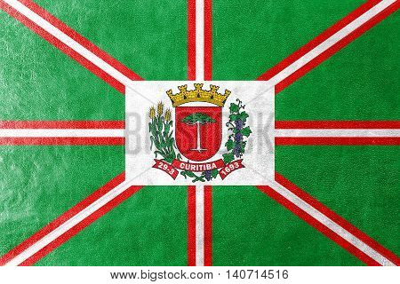 Flag Of Curitiba, Parana, Brazil, Painted On Leather Texture