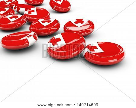 Flag Of Tonga, Round Buttons