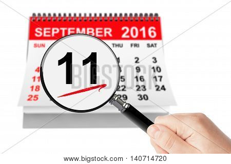 911 Never Forget Concept. 11 september 2016 calendar with magnifier on a white background