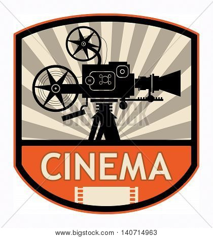 Abstract Cinema label or sign, vector illustration