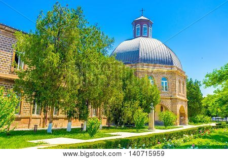 The dome of church in Gevorgian Seminary located in Mother See of Holy Etchmiadzin Complex Vagharshapat Armenia.