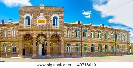 VAGHARSHAPAT ARMENIA - MAY 30 2016: The main building of The Gevorgian Seminary located in Mother See of Holy Etchmiadzin Complex on May 30 in Vagharshapat.