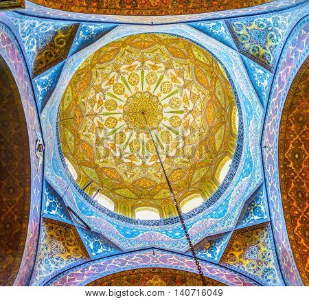 VAGHARSHAPAT ARMENIA - MAY 30 2016: The dome of Etchmiadzin Cathedral covered with complex colorful Byzantine patterns on May 30 in Vagharshapat.