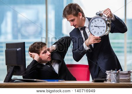 Two twins businessmen arguing with each other over deadline