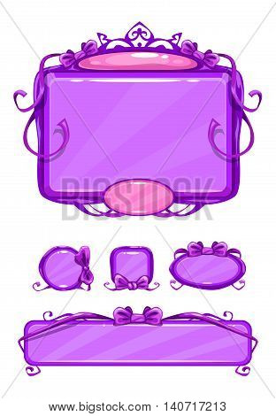 Beautiful girlish violet game user interface including different buttons and information panel. Princess style gui vector assets, isolated on white