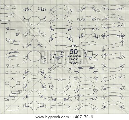 Big Set of 50 Hand Drawn Doodle Sketched Rustic Decorative Banners and Ribbons, Frames with Ribbons. Vintage Vector Illustration. Pen Drawing Outlined Objects on Crumpled Notebook Texture