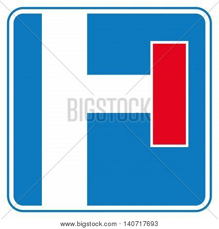 Traffic sign no through road. Right side. Vector illustration.