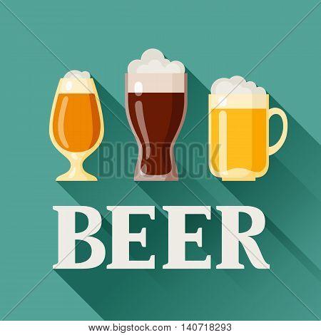 Background design with beer glass, mug and goblet.
