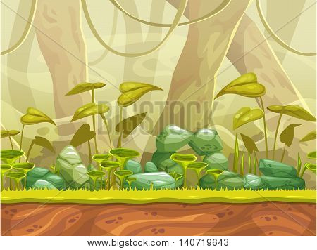 Cartoon seamless nature landscape with separated layers for parallax effect. Vector horizontal jungle illustration, fantasy game background.