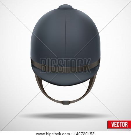 Background of Jockey helmet for horseriding athlete. Front view. Sport protection. Vector Illustration, eps10.