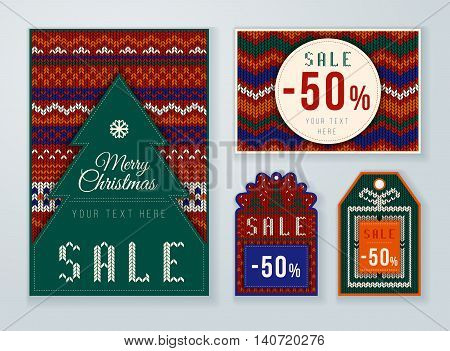 Christmas discounts tag. Winter Sale. Set of winter sale labels. Fabric and knit style.