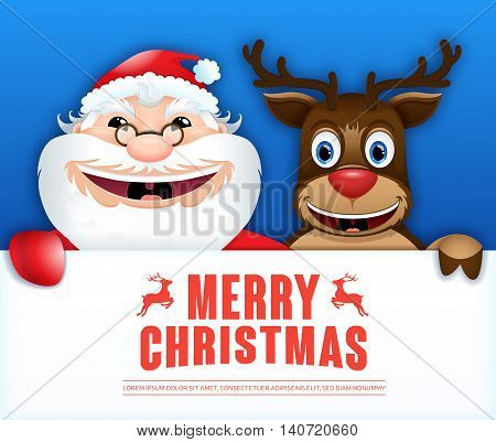 Happy Santa Claus & reindeer hold sign board. Christmas card. Vector illustration 2017