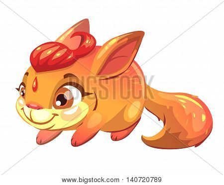 Funny cartoon fantasy squirrel pet. Little cute monster character. Vector illustration, isolated on white background.
