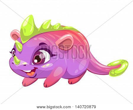 Funny cartoon funny fantasy animal. Little cute monster character. Vector illustration, isolated on white background.