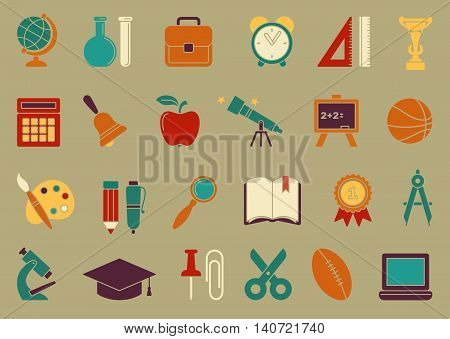Icons on the theme of school and education