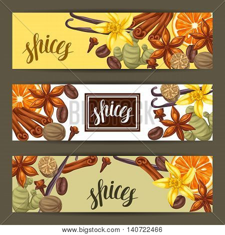 Banners design with various spices. Illustration of anise, cloves, vanilla, ginger and cinnamon.