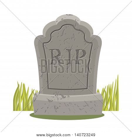 Grave Isolated. Old Gravestone With Cracks. Tombstone On White Background. Ancient Rip. Granite Plat