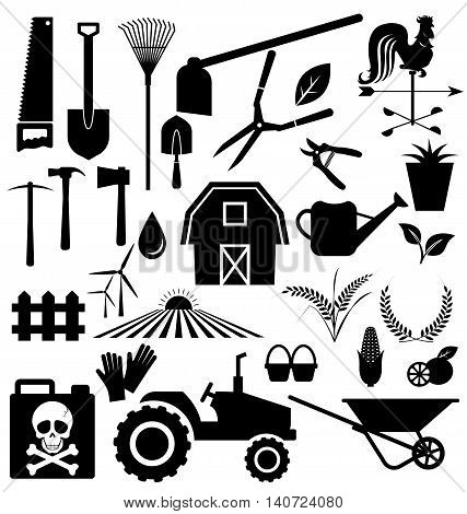 Vector set of agricultural equipment and farm