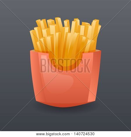 Realistic Franch Fries Fast Food Icon Cartoon Symbol Template Vector Illustration