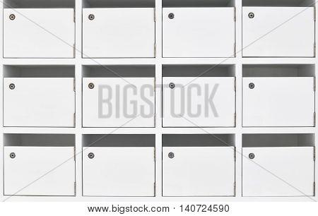 white storage locker storage box with a padlock