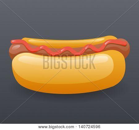 Realistic Hotdog Fast Food Icon Cartoon Symbol Template Vector Illustration