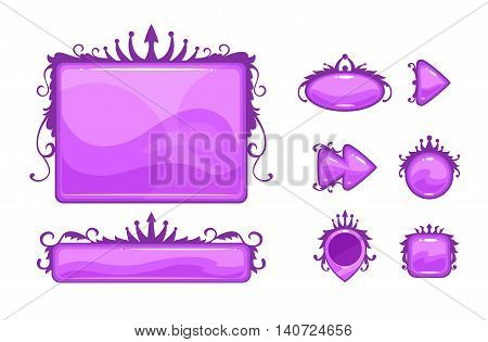 Cartoon vector abstract game assets set. Decorative environment elements for games or web design. Isolated on white.