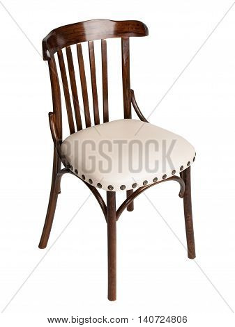 Wooden Viennese chair isolated on white background