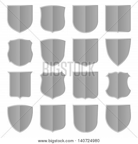 Set of sixteen silver shields. Vector, isolated eps 10