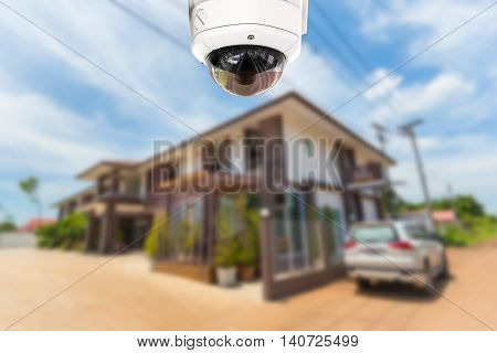 CCTV camera spy security operating at house.
