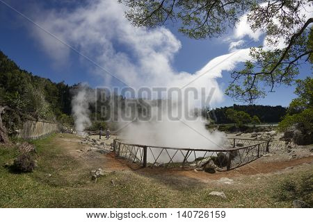Sulfur volcanic thermal in Furnas Sao Miguel island Azores Portugal