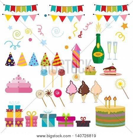 Celebration happy birthday party symbols carnival festive vector set. Colorful happy birthday party symbols hat gifts balloon. Happy birthday party symbols event funny decoration collection.