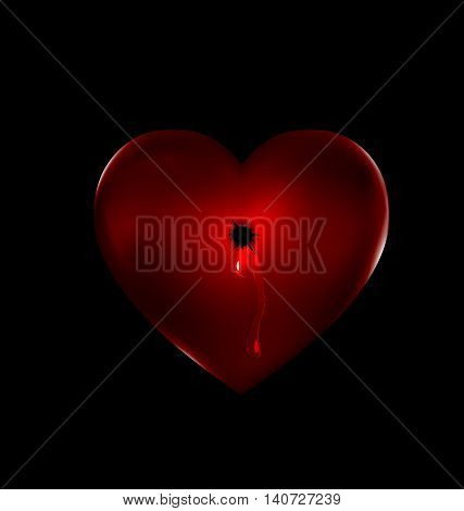 a dark background and the red heart-stone with shot and tear