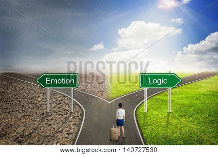 Businessman concept Emotion or Logic road to the correct way.